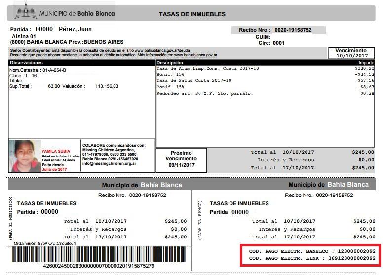Recibo ALC - Códigos pago elecrónico
